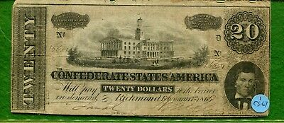 1864 Csa Confederate $20, Fr-Cs-67, T-67, Average Circulated Condition