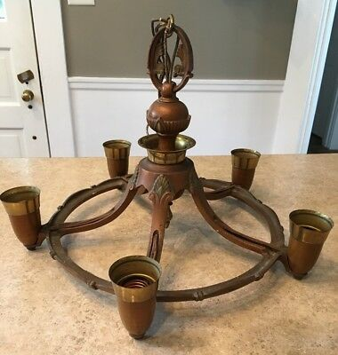 Antique Cast Iron Art Deco 5 Arm Ceiling Light Hanging Chandelier