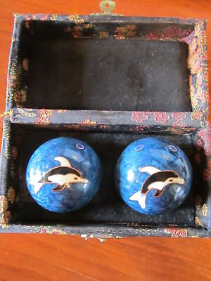 Vintage Boxed Boading Chinese Health Balls Dolphins Chimes   ******************