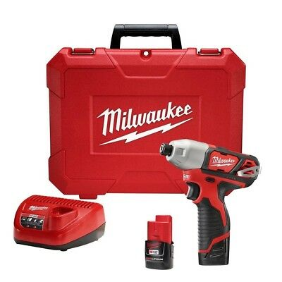 """Impact 1/4"""" Driver 1000 """"/lb 12-Volt W/(2) 1.5Ah Batteries Charger New Milwaukee"""