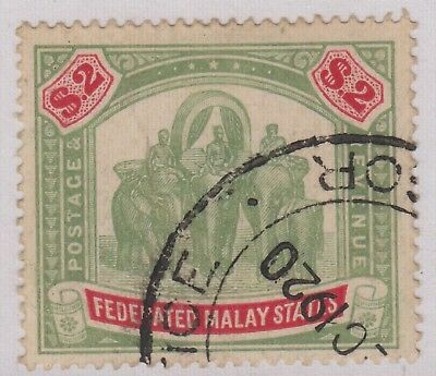 Federated Malay States $2 Green & Carmine SG49 Used Stamp 1907 Malaya