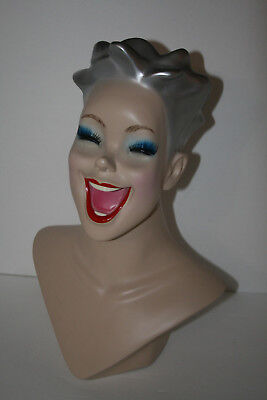 Vtg Art Deco Laughing Lady Mannequin Bust Jewelry Statue Store Display