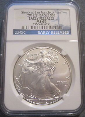 2012 (S) Silver Eagle 1 Oz Coin Ms69 Early Releases Ngc Blue Label // Mc 304