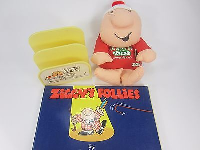 Lot of 3 ZIGGY items -Comic Book, Christmas Plush, Letter organizer Tom Wilson