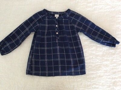 Carter's 2T Girls Navy & Silver Long Sleeve cotton Blend Top ~SHIPS FREE