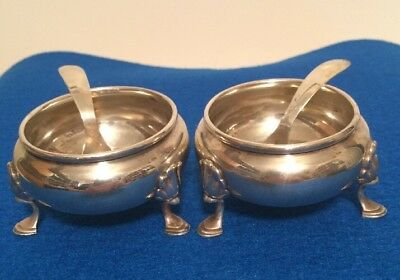 2 Vintage  Antique Sterling Silver Mini Sugar Bowls With Spoons