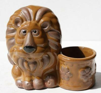 Lion Figure Toothpick-Candle Holder Ceramic-Porcelain Hand Painted Made in Japan