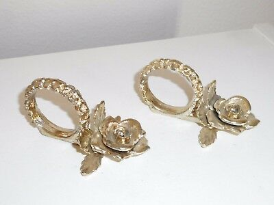 Lot of 2 Silver Plated Figural Rose Napkin Rings