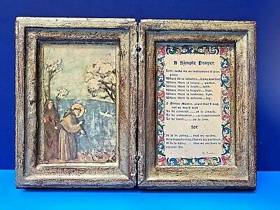 "Florentine Giotto Gilt St. FRANCIS ""A Simple Prayer"" Book-Type Plaque Italy Tole"