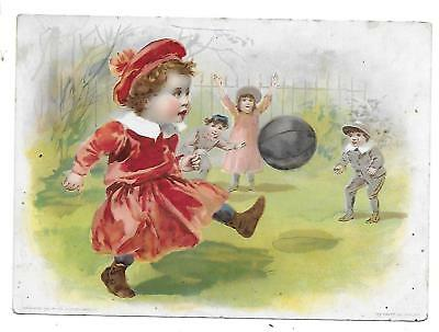 Lion Coffee Victorian Trade Card Midsummer Greetings Children Playing Soccer