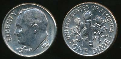 United States, 1988-D Dime, Roosevelt - Uncirculated