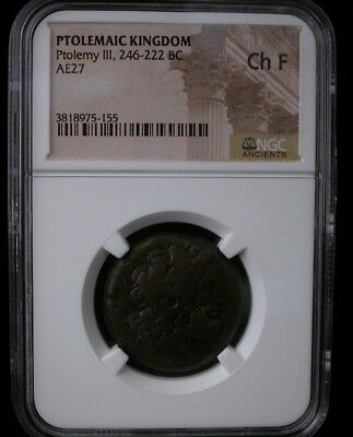 PTOLEMAIC KINGDOM Ptolemy III 246-222 BC AE27 ANCIENT COIN NGC Ch F