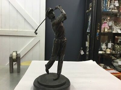 Vintage Antique Bronze Statue New Golfer Golf Art Nouveau