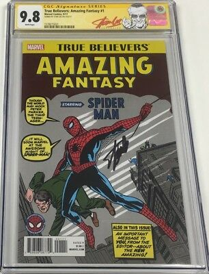 Marvel True Believers Amazing Fantasy #15 Signed Stan Lee CGC 9.8 SS Red Label