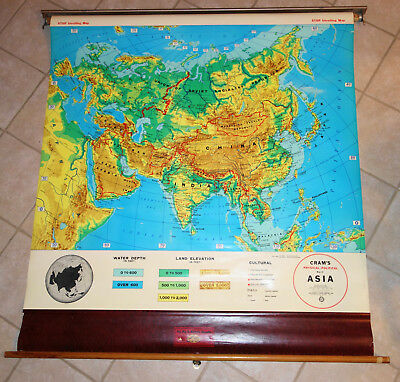 VINTAGE CRAM\'S PHYSICAL-POLITICAL Pull Down Map of Asia, C69 ...