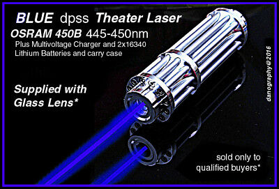 Engineering/Construction BLUE LASER w/Focus+Glass Lens+Rechg.Set+Goggles+Case