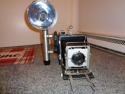 Vintage Graflex Crown Graphic 4x5 Camera Many parts and manual
