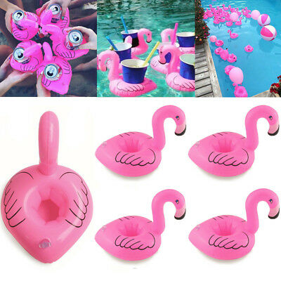 1/2/5/10x Inflatable Flamingo Floating Drink Cup Holder Summer Swimming Pool US