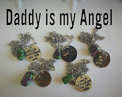 Code 603 Daddy is my Angel Ruby in Zoisite Infused Necklace Choose Number U Want