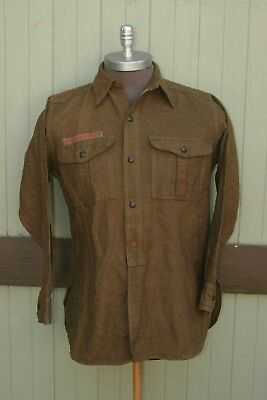 Vintage Boy Scouts of America 100% Wool Green Button Up Long Sleeve Shirt SZ M