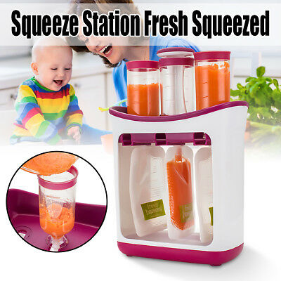 Infant Baby Feeding Food Squeeze Station +10 Pouch Toddler Fruit Maker Dispenser