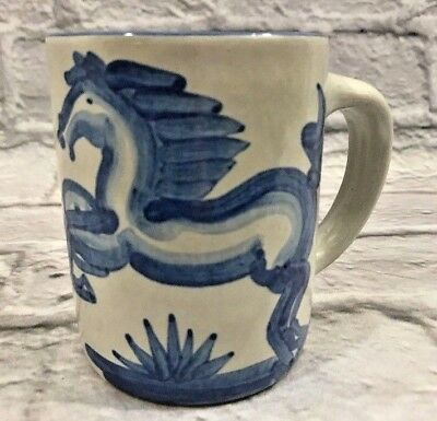 M A Hadley BLUE HORSE American Pottery Mug Pony Louisville