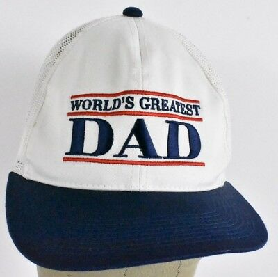 f31a7dca716d3 White World s Greatest Dad Embroidered Trucker hat cap Adjustable Snapback