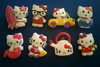 8 Pc Hello Kitty Jibbitz Shoe Charms Cake Toppers  Car Party Favors Wristbands