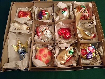 Inge's Heirloom Bride's Tree Glass Ornaments Holiday Germany Set Of 12