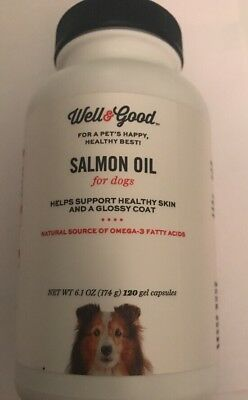 Well & Good Salmon Oil For Dogs Supports Healthy Skin & Coat 120 GelCapsules NEW