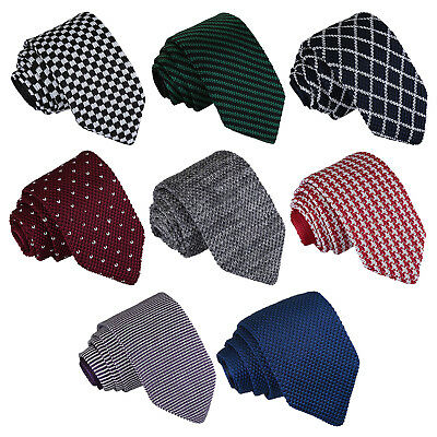 DQT Premium Knit Knitted Solid Plain Patterned Check Stripe Polka Mens Slim Tie