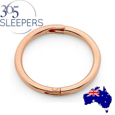 365 Sleepers 1 Piece Rose Gold Plated Sterling Silver Hinged Hoop Earring Nose R
