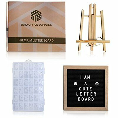 Changeable Letter Board Black Felt, 10 x 10 inch,Small Display Stand,Wall Mount