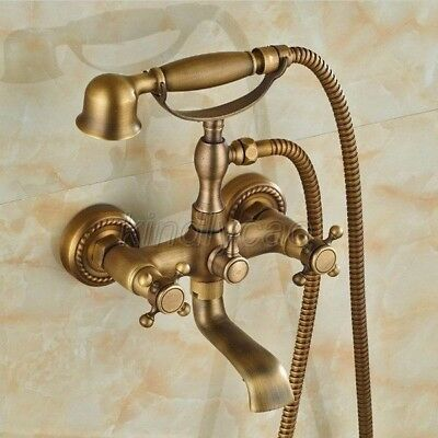 LUXURY GOLD COLOR Brass Wall Mounted Clawfoot Bathtub Faucet Hand ...