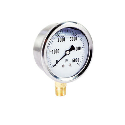 NEW Stainless Steel Hydraulic Liquid Filled Pressure Gauge 0-5000 PSI 1/4 NPT
