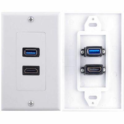 Double Wall Plug Socket with HDMI +USB 3.0 Charger Port Outlets White Plate Sale