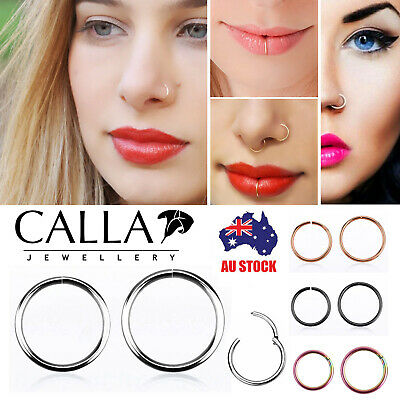 CALLA Seamless Hinged 100% Titanium Ring Hoop Clip On Lip Nose Septum Ear 1PC