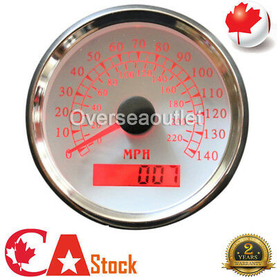 "GPS Speedometer Marine / Auto 140 MPH 3-3/8""/86mm Red LED light, white/316L SS"