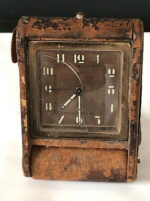 Antique 1920s Jaeger Travel Clock Spares or Repairs