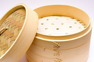 "Superior Quality 6.5"" Bamboo Steamer 2 Tier 1 Lid + FREE 25 Dim Sum Papers"