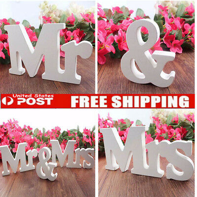 USA Chic Mr & Mrs Wedding Letters White Wooden Mr and Mrs Table Sign Decoration
