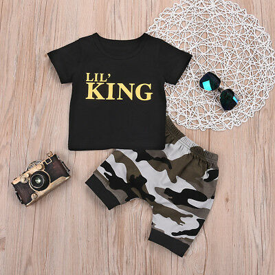 Toddler Kids Baby Boys Blouse Tops T-shirt+Camo Shorts Pants Clothes Outfits Set