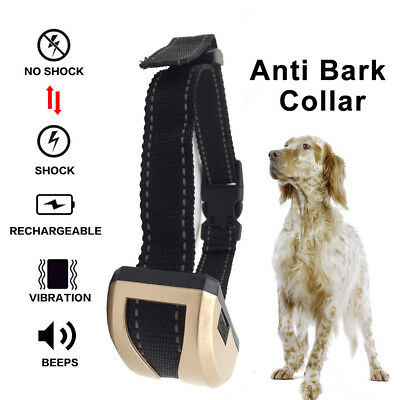 Rechargeable Adjust Electric Anti Bark Pet Dog Stop No Barking Training Collar@T
