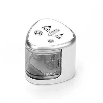 Tihoo Double Holes Electric Pencil Sharpener,6-12mm Pencils,Silver