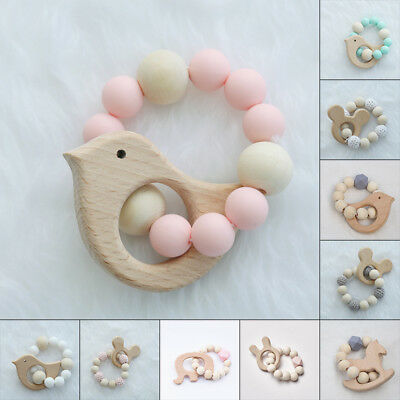 Handmade Wooden Baby Teether Bracelet Rounbd Beads Teething Ring Infant Toy Gift