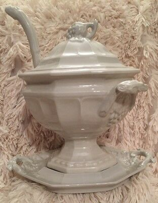 Red Cliff American White Ironstone 6 sided Soup Tureen Lid Ladle & Underplate