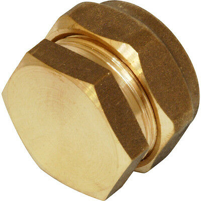 15mm Compression Stop End Brass - Copper Pipe Fittings Water Gas LPG Oil *