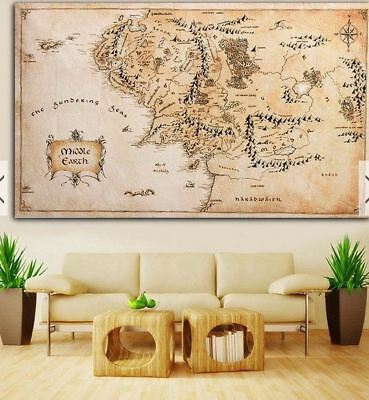 New 110x60CM Map of Middle Earth Lord of The Rings Silk Cloth Poster Home Decor
