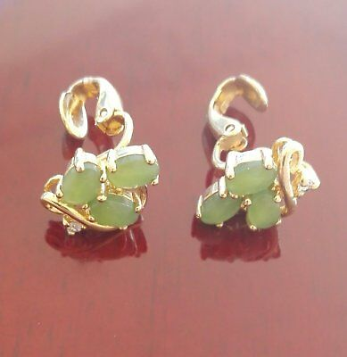 c1970's 12kt gold vermeil on sterling silver Natural Jade Earrings.FREE SHIPPING