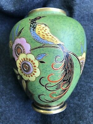 Stunning Carlton Ware Feather Tailed Bird With Flower Vase Pattern No 3355. Rare